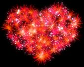 Valentines Day Red Fireworks Heart Shape