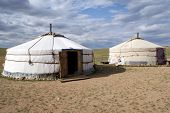 Traditional mongolian house on desert, Mongolia