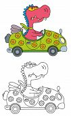 Coloring Pages For Childrens With Funny Animals,funny Dragon In The Car poster