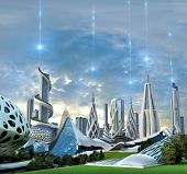 3d Illustration Of A Futuristic Green City With An Organic Architecture Powered By An Exotic Energy  poster