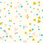 Colorful Messy Seamless Pattern With Yellow, Blue, Gray, Pink Triangles On Beige. Abstract Chaotic G poster