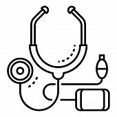 Cardiology Stethoscope Icon. Outline Cardiology Stethoscope Icon For Web Design Isolated On White Ba poster