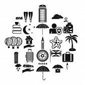Rainy Place Icons Set. Simple Set Of 25 Rainy Place Icons For Web Isolated On White Background poster