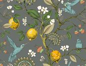 Floral Vector Seamless Pattern. Botanical Wallpaper. Plants, Birds Flowers Backdrop. Drawn Nature Vi poster