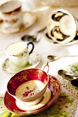 Antique porcelain tea cups and saucers