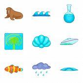 Aqua Icons Set. Cartoon Set Of 9 Aqua Icons For Web Isolated On White Background poster
