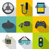 Vr Entertainment Icon Set. Flat Style Set Of 9 Vr Entertainment Icons For Web Design poster