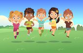 Happy Jumping Kids. Children Holiday Cartoon Panorama Childrens Summer Meadow Park Teenagers Jump Da poster