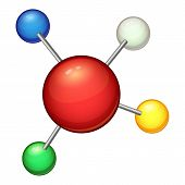 Red Molecule Icon. Cartoon Illustration Of Red Molecule Icon For Web poster