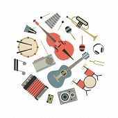 Music, Vector Flat Illustration Of Musical Instruments, Icon Se, White Background. Drum, Bass, Xylop poster