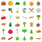 Foliage Icons Set. Cartoon Style Of 36 Foliage Icons For Web Isolated On White Background poster