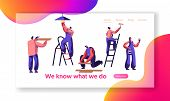 Repair Service Professional Worker Landing Page. Human Change Light Bulb, Paint Wall, Lay Laminate,  poster