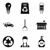 Recycling Material Icon Set. Simple Set Of 9 Recycling Material Icons For Web Design Isolated On Whi poster