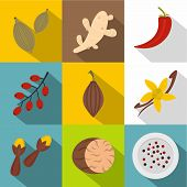 Herbs And Spices Icon Set. Flat Style Set Of 9 Herbs And Spices Icons For Web Design poster