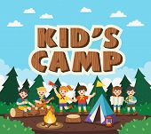 Children Camping Out In The Park. Camping Kids Concept. Summer Camp Education Advertising. Vector Il poster