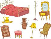 Illustration of an Assortment of Vintage Furniture Including a Bed, a Dresser, a Wardrobe, a Chair,