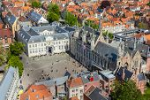 Aerial view of the Burg square with the City Hall. Bruges (Brugge) , Belgium