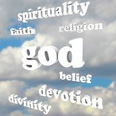 stock photo of divine  - The word God and related words such as spirituality - JPG