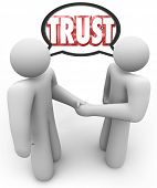 Two people shaking hands and talking with a speech bubble over their head with the word Trust, repre