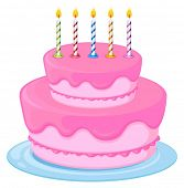 illustration of a pink birthday cake on a white background