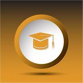 Graduation cap. Plastic button. Vector illustration.