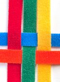 Colorful velcro strips braided together