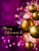 Elegant Classic Christmas Background with new red baubles and a lot of colorful glitters for a magic