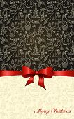 Vintage Christmas background with hand drawn seamless pattern and red ribbon