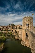 Ancient romanesque bridge over river, Besalu