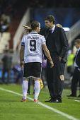 VALENCIA - 7 de noviembre: Soldado & Pellegrino durante el partido de la Liga de campeones de la UEFA entre el Valencia CF un