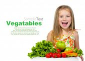 little sweet girl with vegetables with sample text