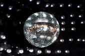 Shiny disco ball in a nightclub