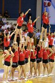 KUALA LUMPUR - OCTOBER 27: Farmcochem's cheerleaders perform during half-time in a Malaysia National Basketball League match against Westport Dragons on October 27, 2012 in Kuala Lumpur, Malaysia.