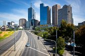 MELBOURNE, AUSTRALIA - OCTOBER 29: Melbourne skyline and exhibition street extension.  The extension