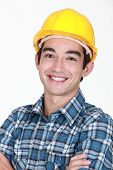 Worker smiling