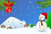 time christmas landscape with snowman
