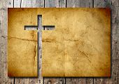 stock photo of crucifix  - High resolution christian cross cut in an old grungy or vintage paper - JPG