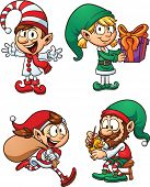Cartoon Christmas elf characters. Vector clip art illustration with simple gradients. Each in a sepa