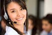 stock photo of telemarketing  - beautiful business customer service woman  - JPG