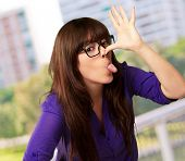 Crazy Woman With Stick Out Tongue, Outdoor