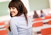 Happy Woman Wearing Headphone, Indoor
