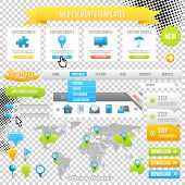 Web Elements Template, Icons, Slider, Banner and Buttons. Vector Map with Marks.