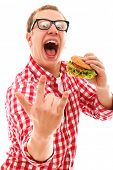 foto of gag  - Funny man in glasses eating hamburger isolated on a white - JPG