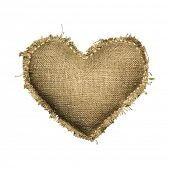 Valentine linen Sackcloth heart. Isolated on white.