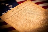 picture of betsy ross  - United States Declaration of Independence on a Betsy Ross flag background - JPG