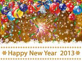 Happy New Year 2013 illustration - light brown background and colored balls ornaments