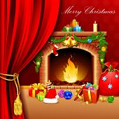 illustration of christmas decoration around fire place behind curtain