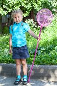 Little Caucasian Child Full Length Portrait With Butterfly Net
