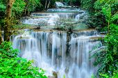 pic of cataract  - Huay Mae Khamin Paradise Waterfall located in deep forest of Thailand. Huay Mae Khamin - Waterfall is so beautiful of waterfall in Thailand Huay Mae Khamin National Park Kanchanaburi Thailand.