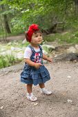 Year-old Adorable Little Child Girl In Park At Summer,almaty, Kazakhstan